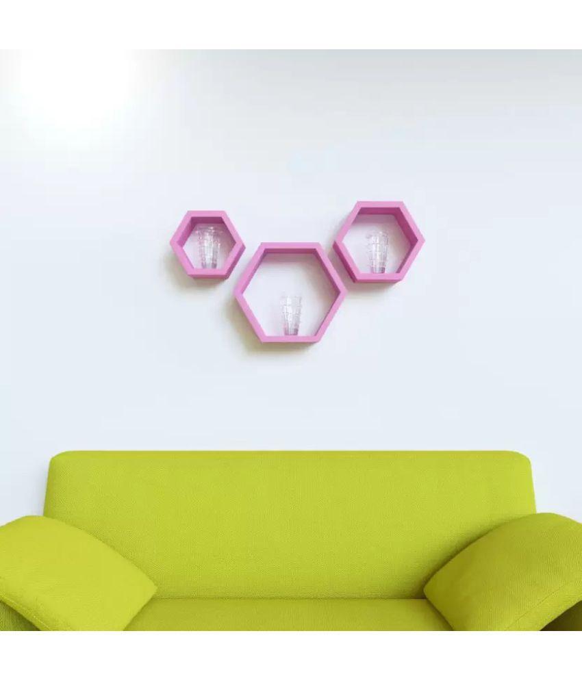 Onlineshoppee Floating Shelf/ Wall Shelf / Storage Shelf/ Decoration Shelf Pink - Pack of 3