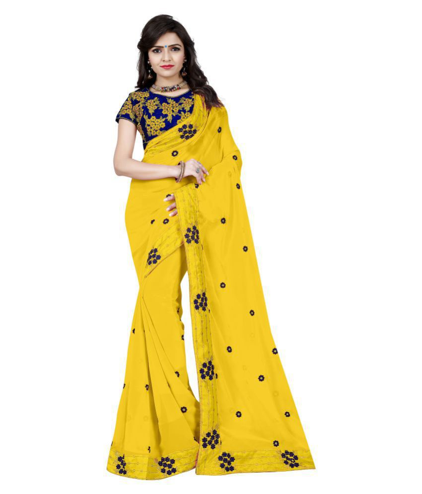 SilverStar Yellow Georgette Saree