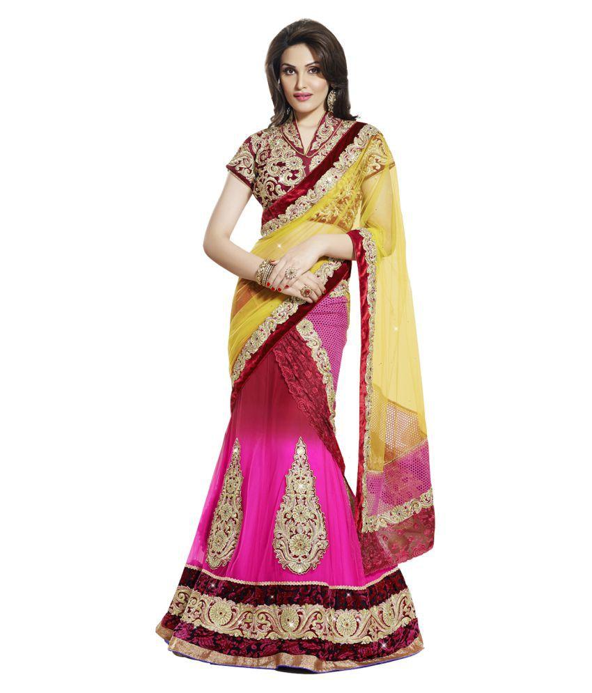 Red Sparrow Pink Net Saree