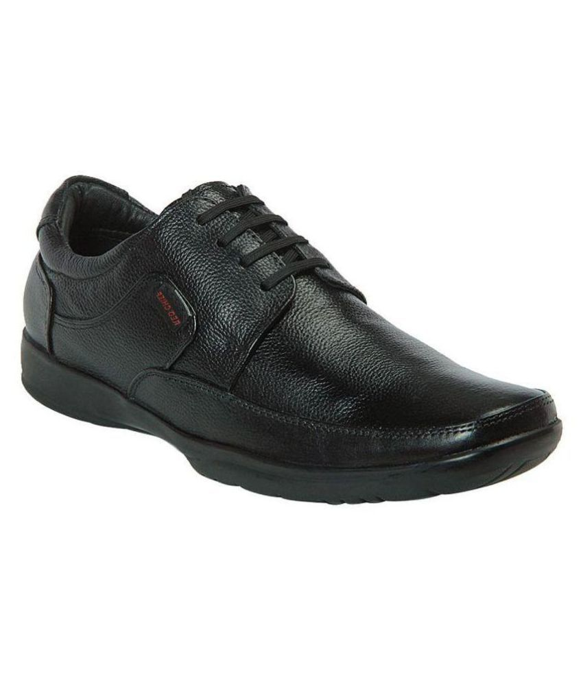 Red Chief Black Office Genuine Leather Formal Shoes