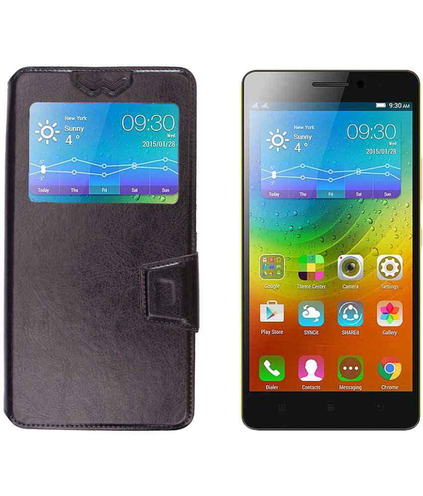 new concept aaab4 0d75e Micromax Canvas Doodle 3 A102 Flip Cover by Shopme - Black