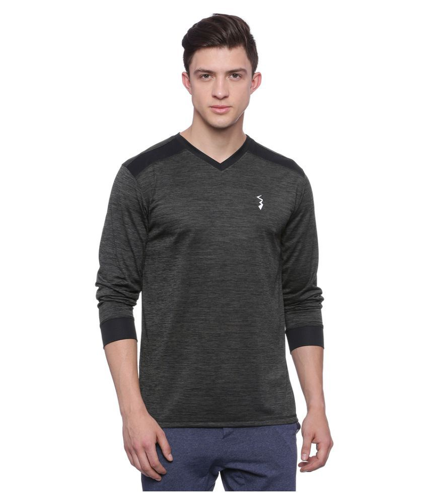 Campus Sutra Charcoal Polyester T-Shirt Single Pack