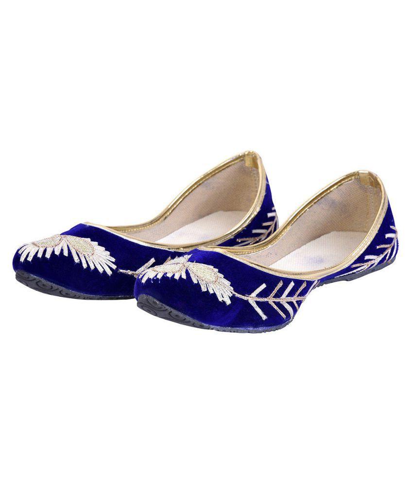 Urshop Blue Flat Ethnic Footwear