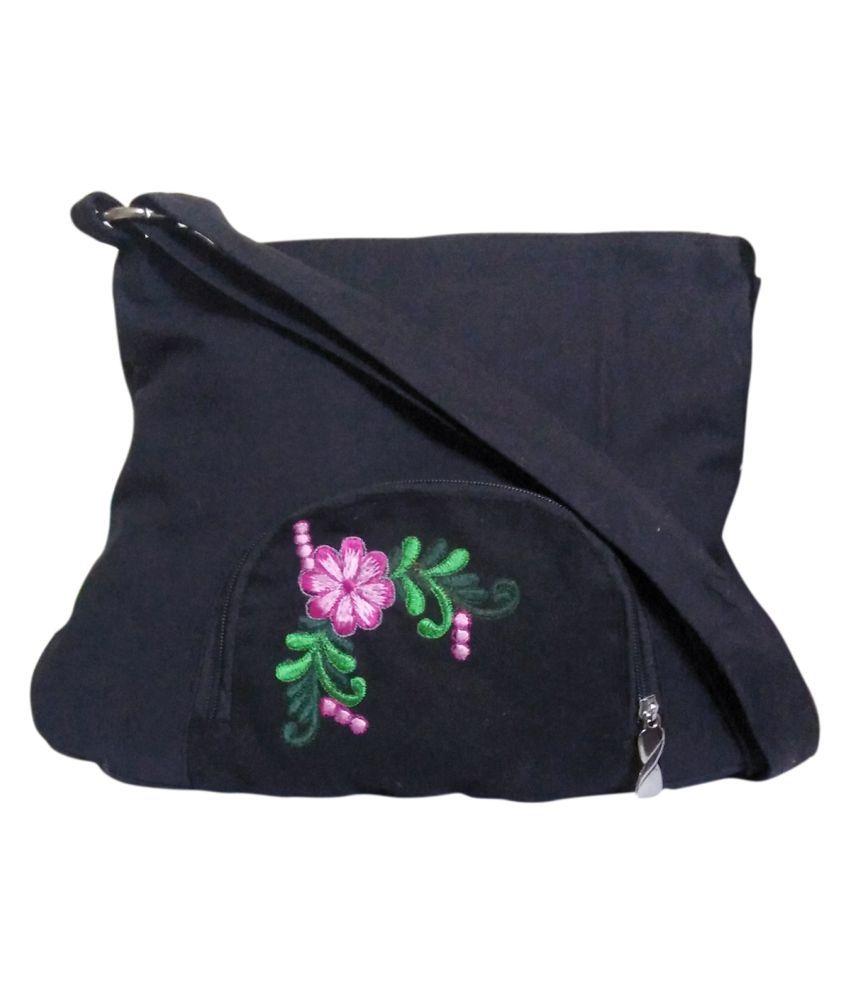 Fly Angels Black Canvas Shoulder Bag