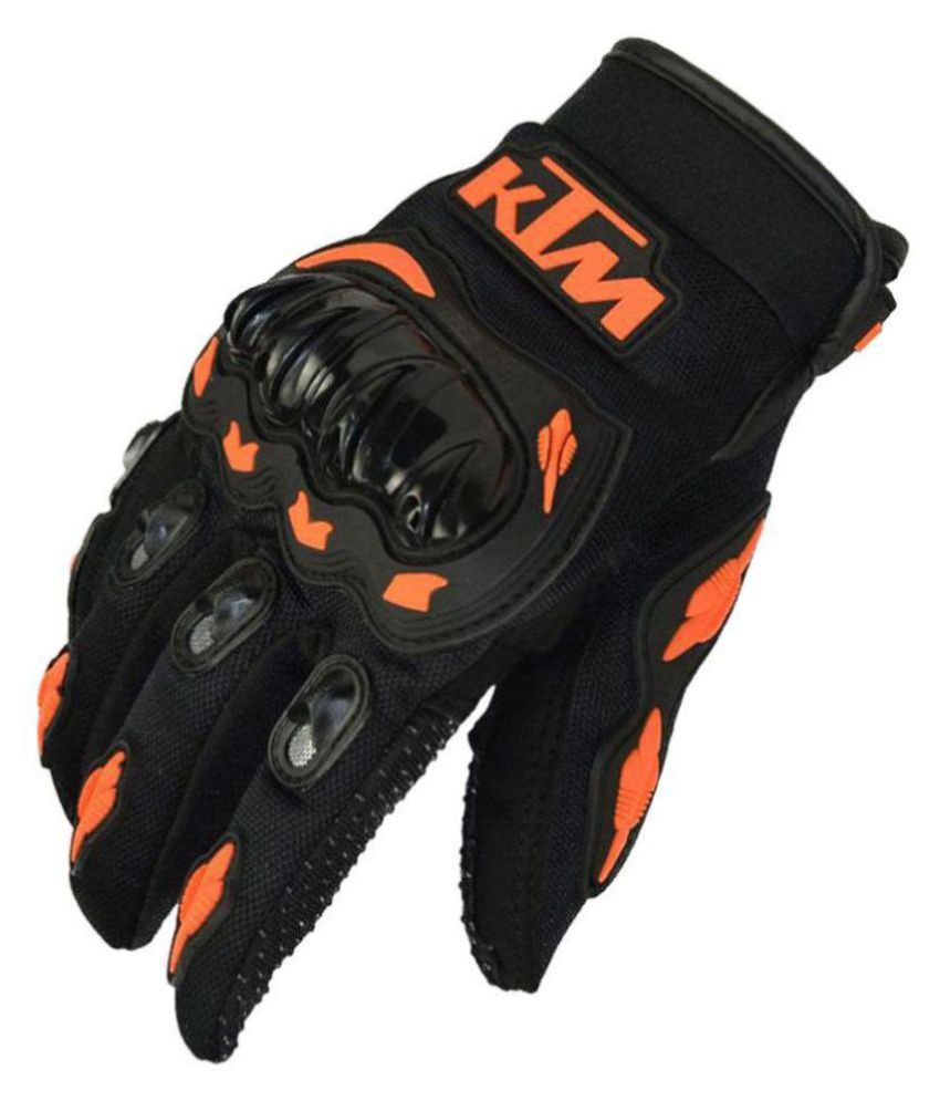 KTM Moto Biker Riding Hand Gloves - Black