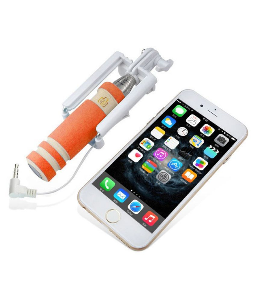 mobilefit aux wire selfie stick orange selfie sticks accessories on. Black Bedroom Furniture Sets. Home Design Ideas
