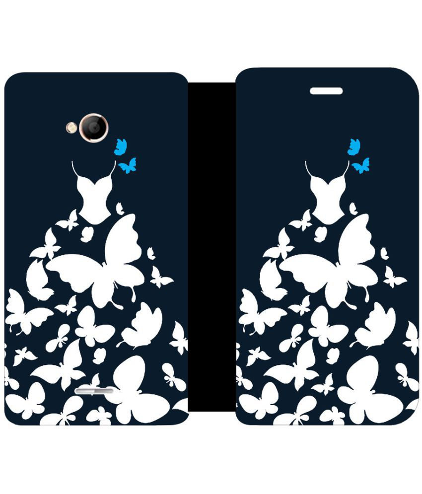 Micromax Canvas Spark 4G Flip Cover by Skintice - Black