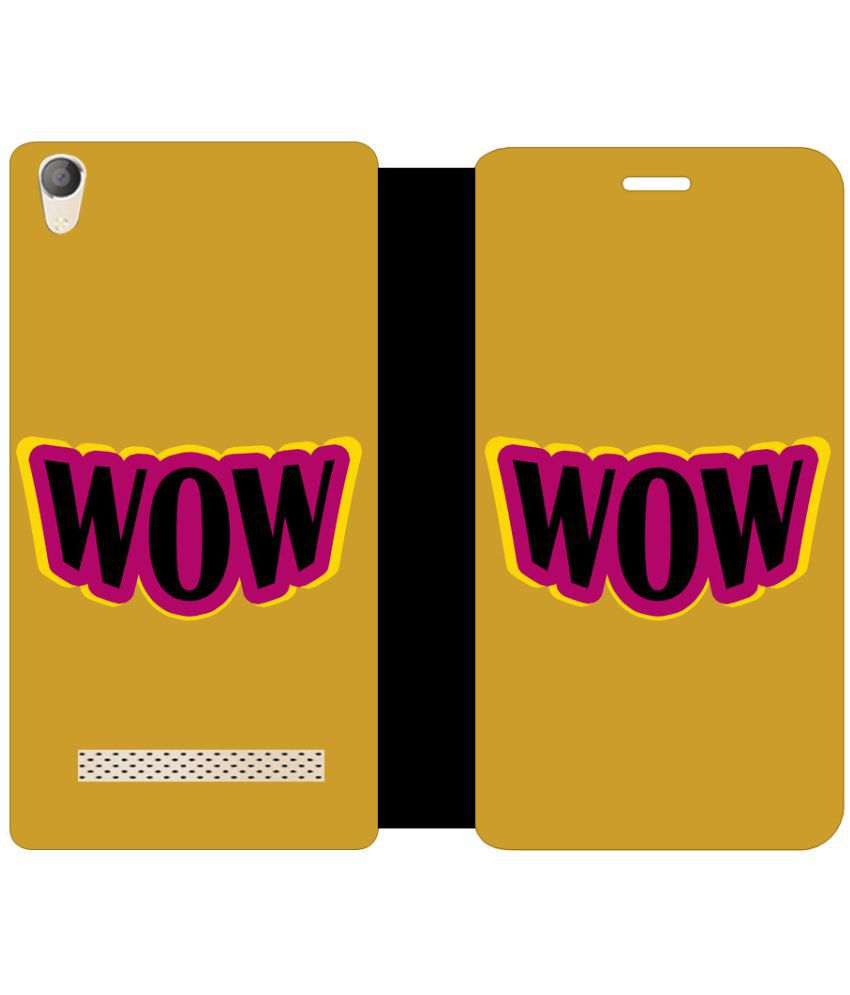 Micromax Canvas Fire 6 Q428 Flip Cover by Skintice - Yellow