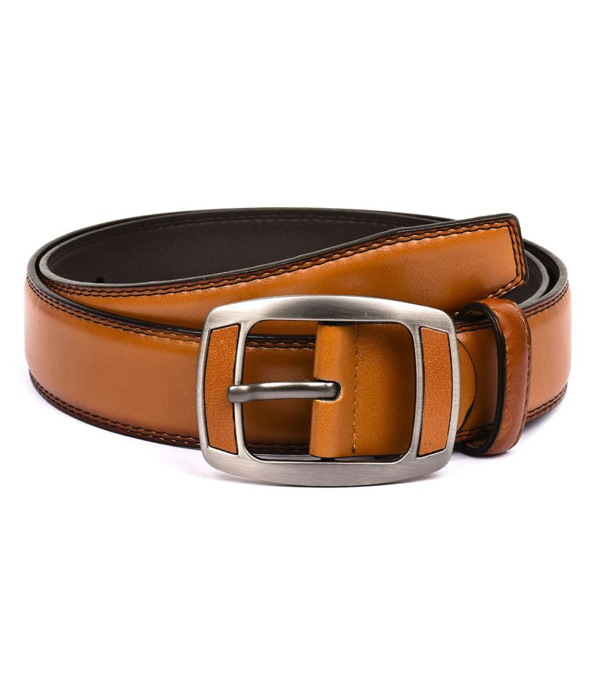 Buckle Up Tan Faux Leather Formal Belts