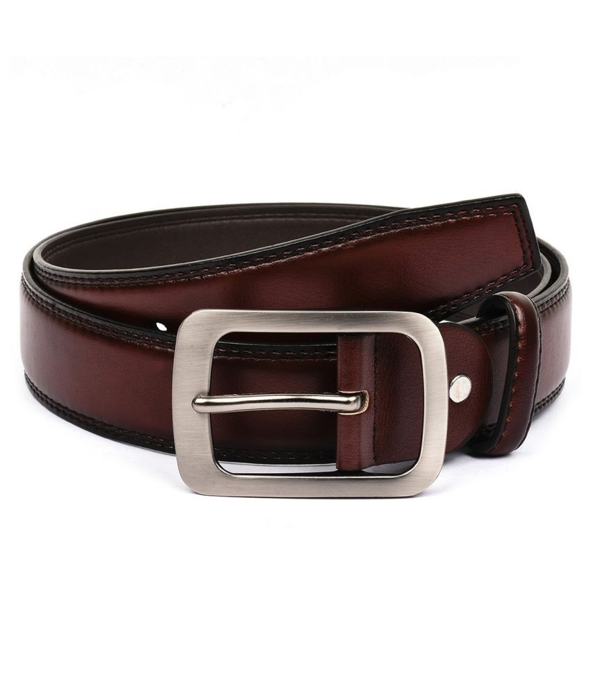 Buckle Up Maroon Faux Leather Formal Belts