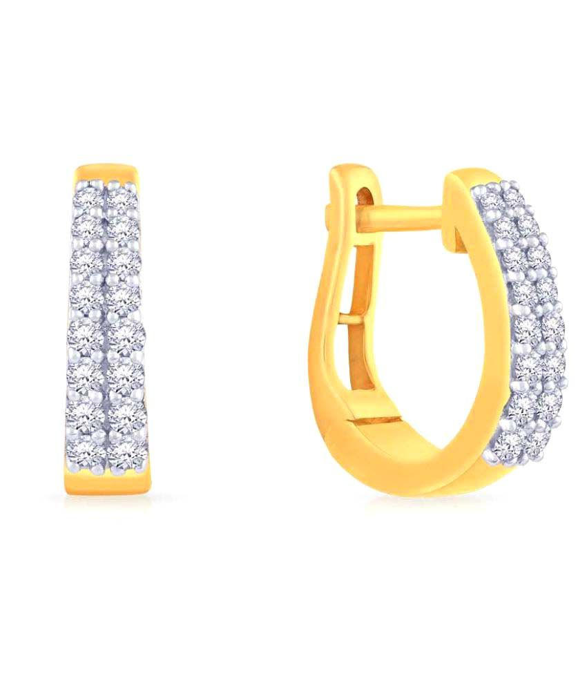 Malabar Gold and Diamonds 18k BIS Hallmarked Yellow Gold Diamond Huggies