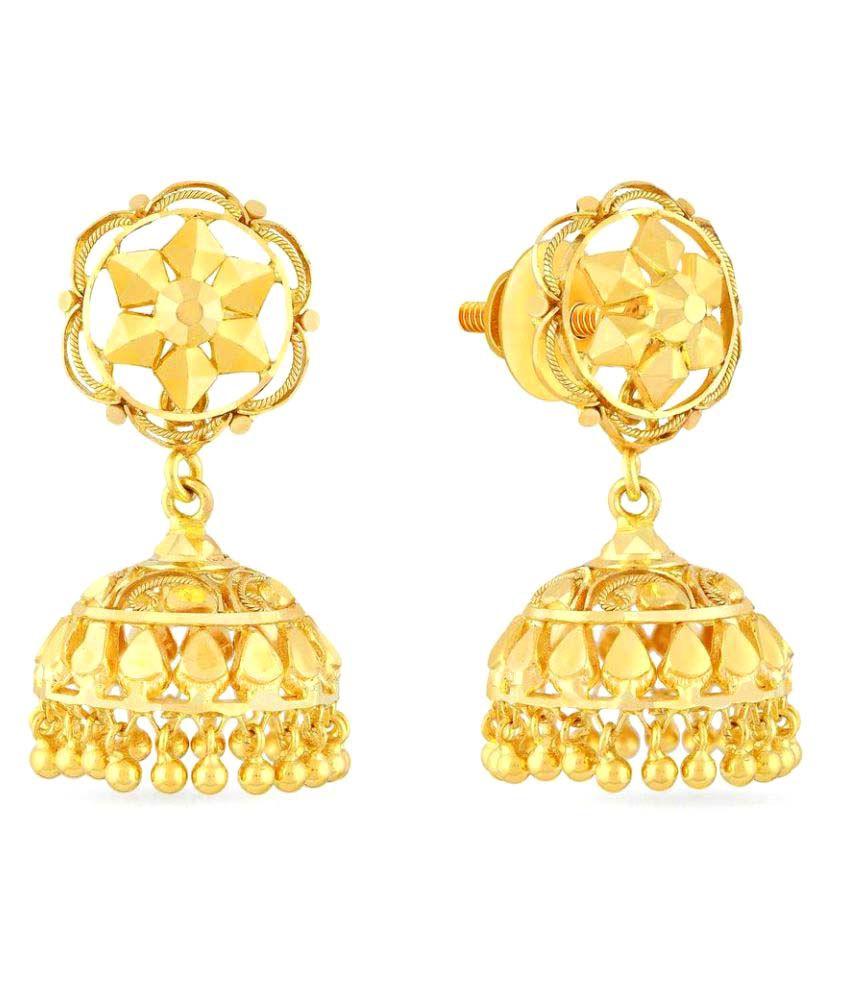 Malabar Gold and Diamonds 22k BIS Hallmarked Yellow Gold Jhumki