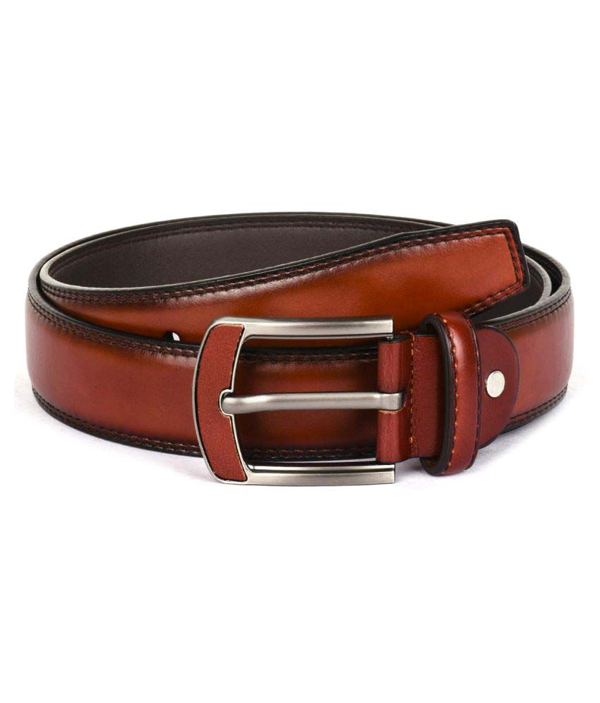 Buckle Up Brown Faux Leather Formal Belts