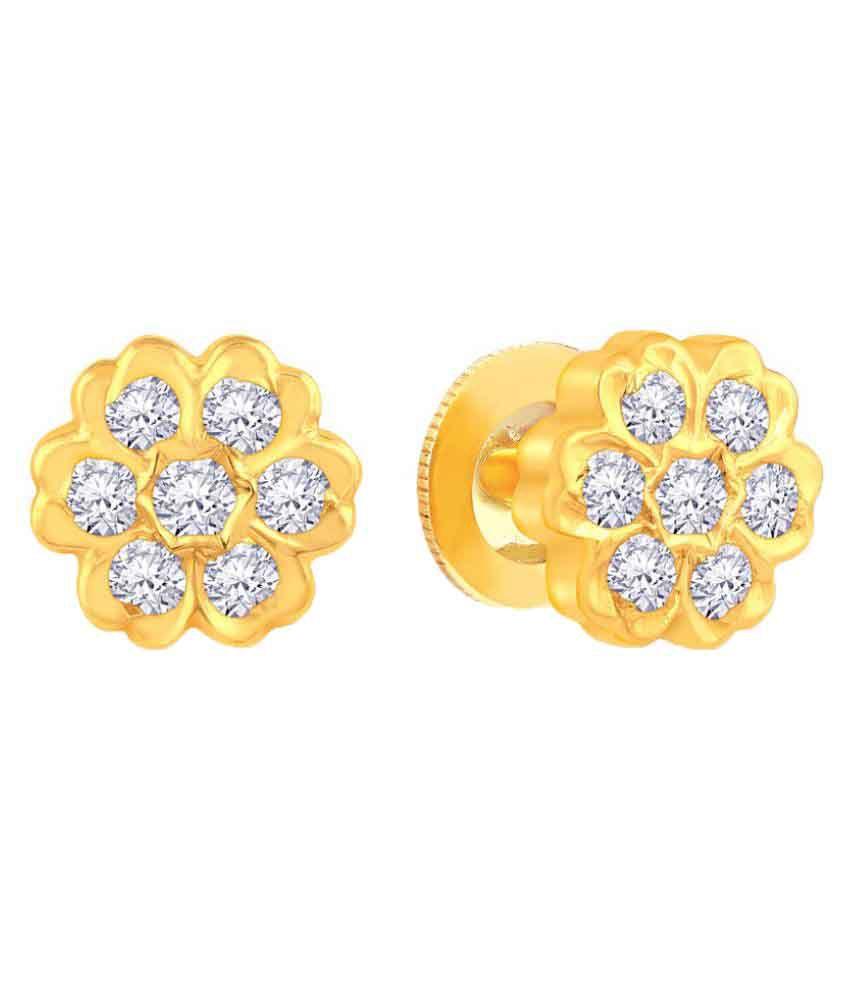 Malabar Gold and Diamonds 22k BIS Hallmarked Yellow Gold Diamond Studs