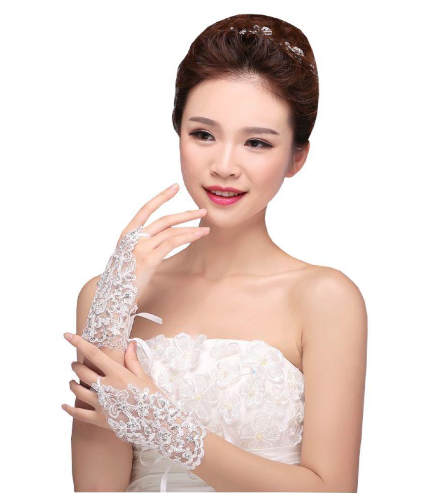 Modo Vivendi | Lace Wedding Gloves | Fingerless Short Elegant Rhinestone Bridal Wedding Gloves
