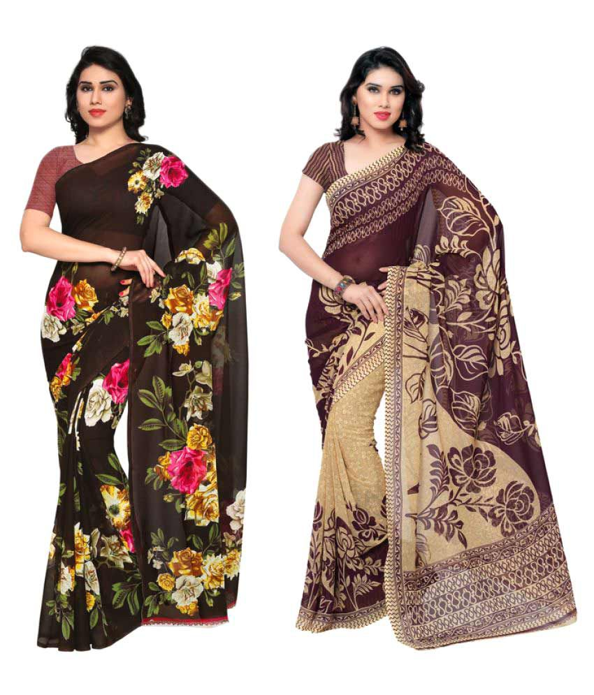 Anand Sarees Multicoloured Polyester Saree Combos