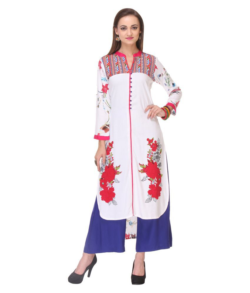Magikmania Multicoloured Rayon Straight Kurti