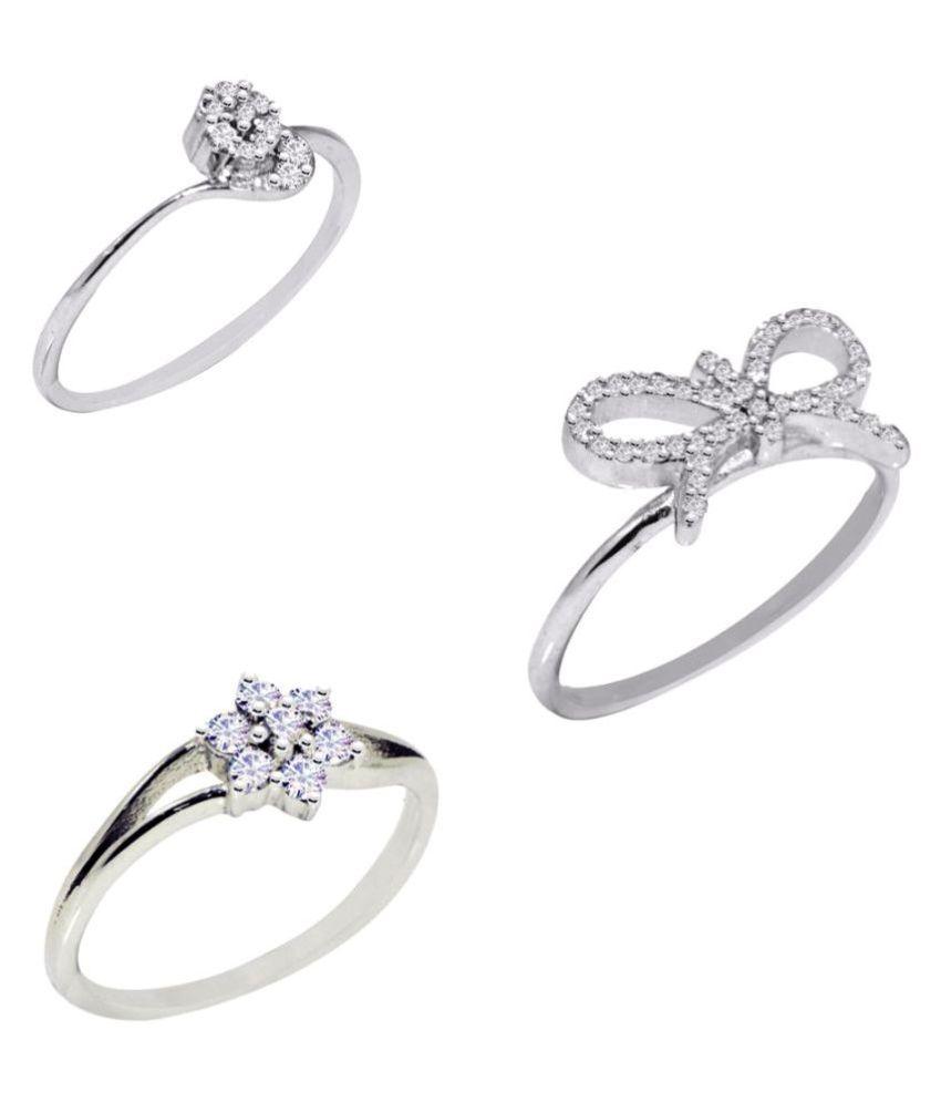 Shine Jewel 92.5 Silver Cubic zirconia Rings Combo