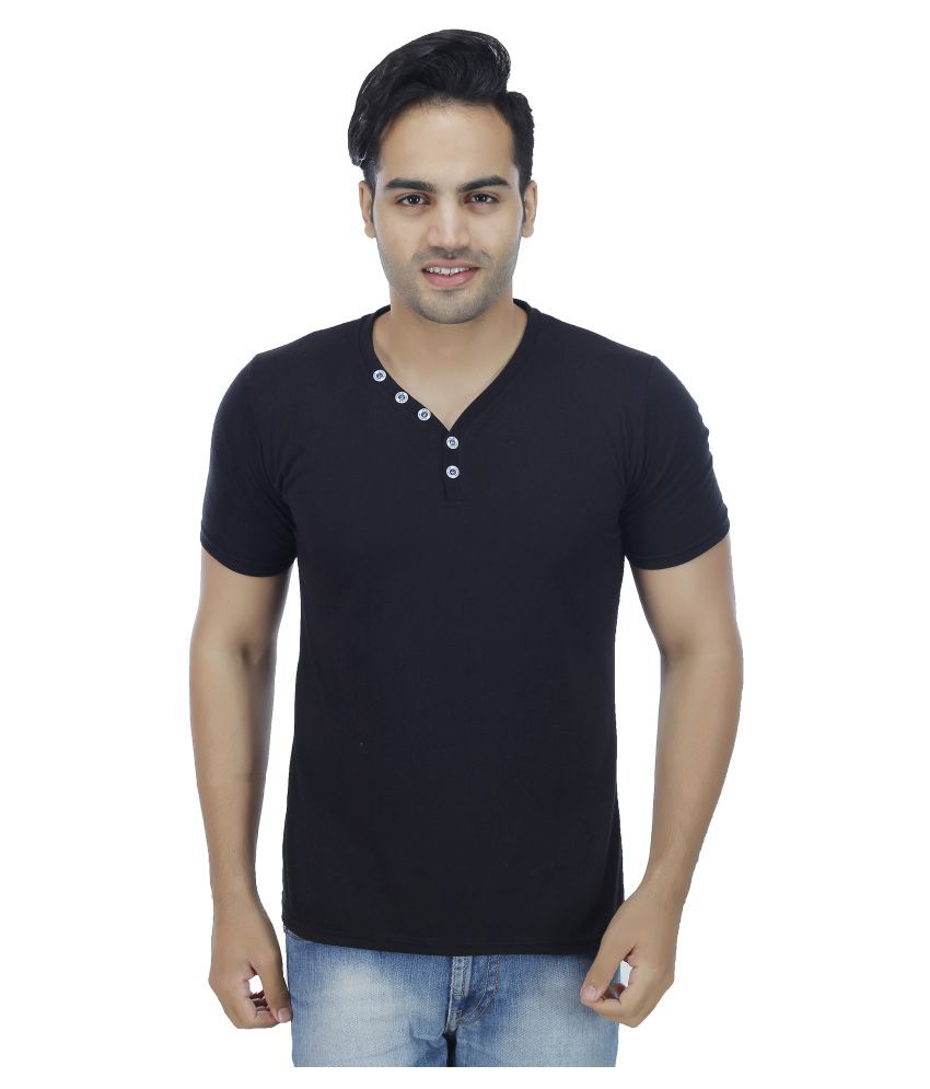 4 Aces Black Henley T-Shirt