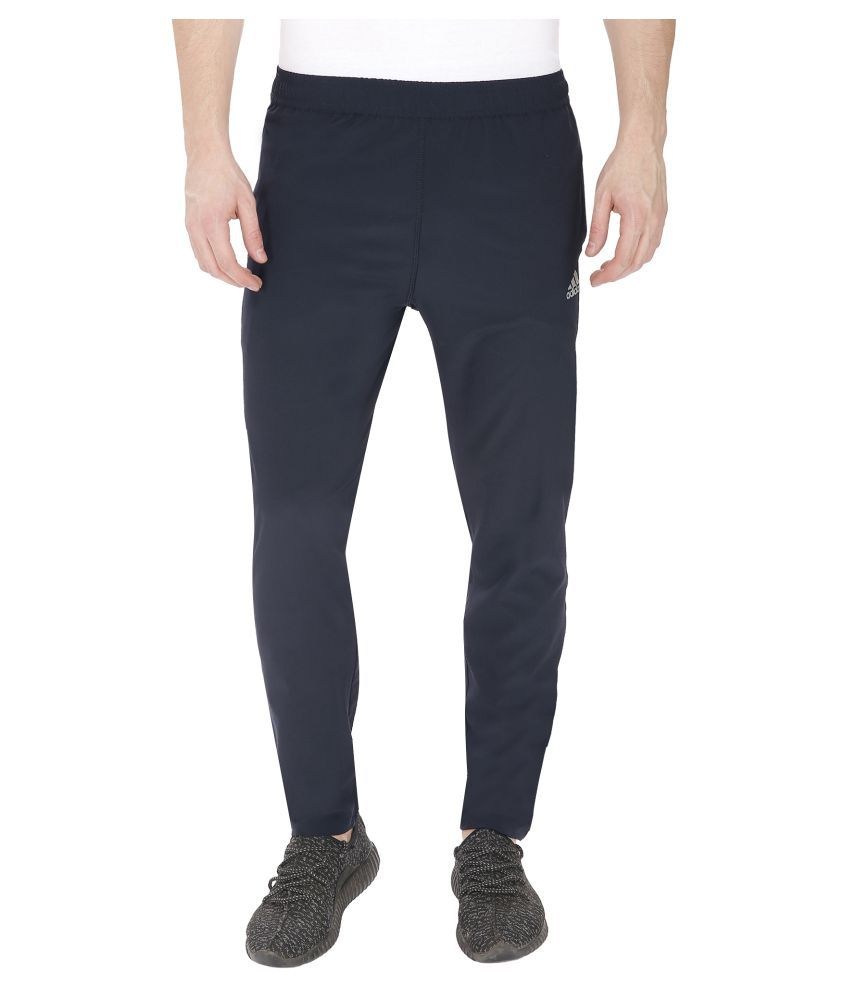 Adidas Navy Polyester Lycra Trackpant