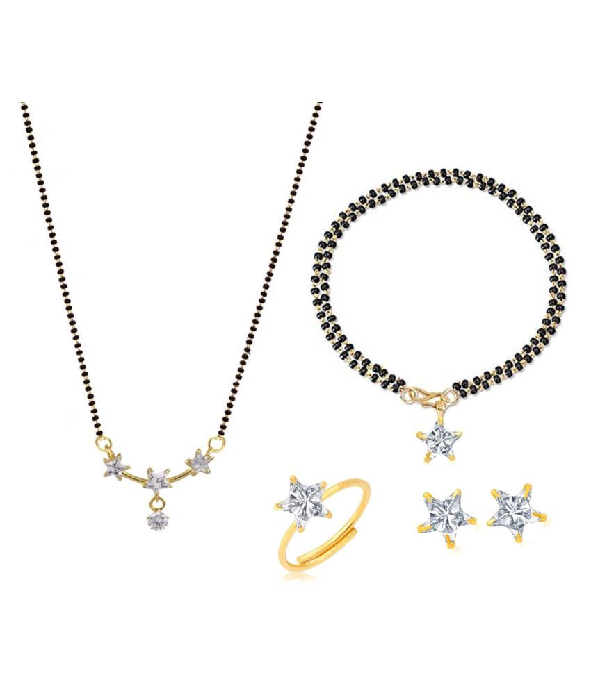 Archi Collection Alloy Mangalsutra Combo with Ring and Earrings