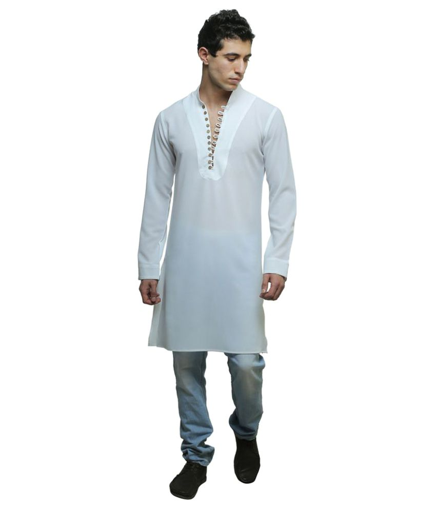 Color Opera Kreation White Polyester Blend Kurta - Buy Color Opera ...