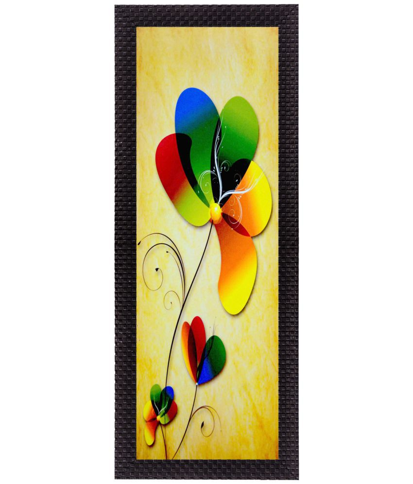 Ecraftindia  Botanical Colorful Floral Satin Matt Texture UV Art  Multicolor Wood Painting With Frame Single Piece