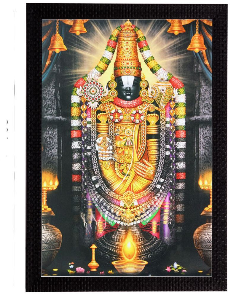 Ecraftindia Lord Balaji Wood Painting With Frame Single Piece
