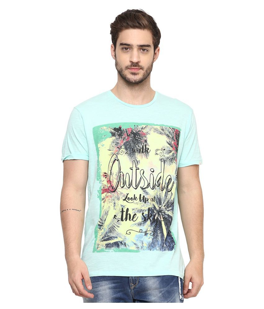 Spykar Green Round T-Shirt