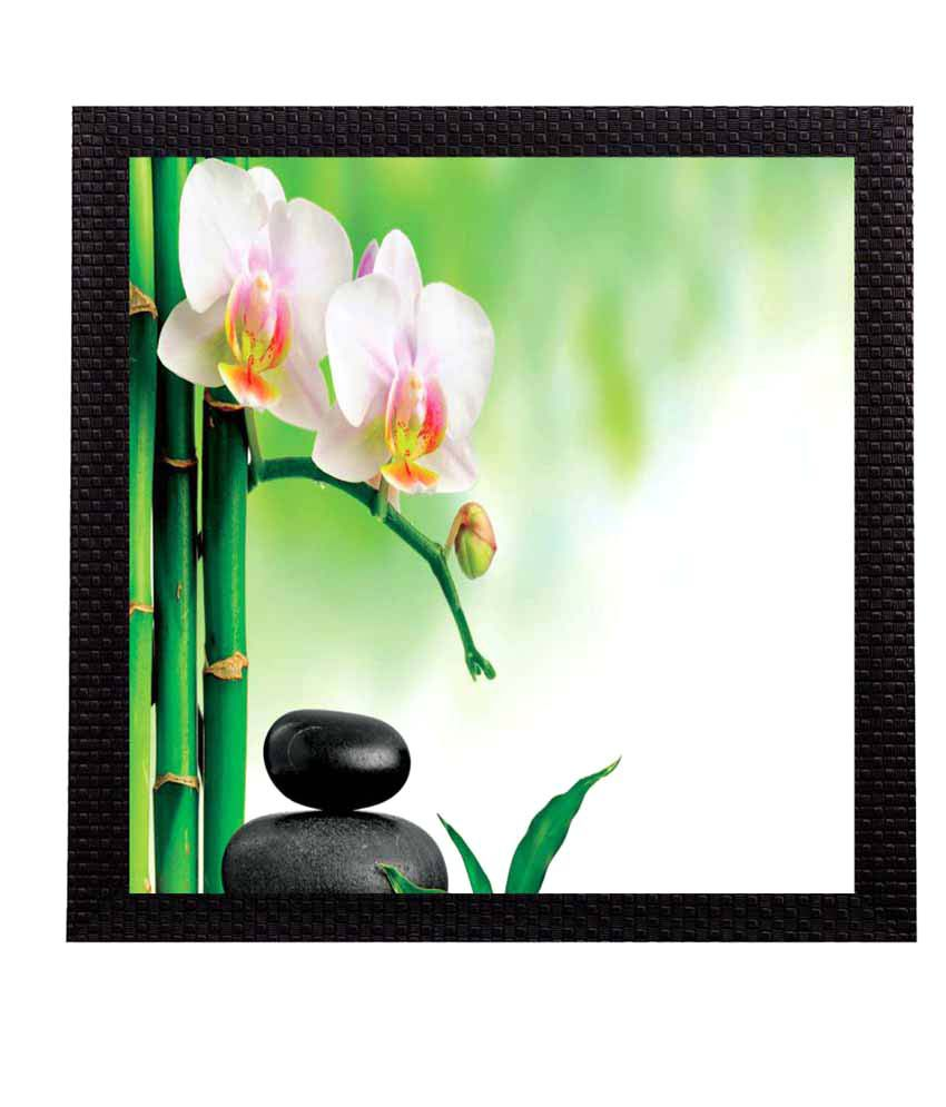 eCraftIndia Botanical Floral Satin Matt Texture UV Art Wood Painting With Frame Single Piece