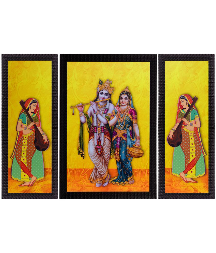 eCraftIndia Lord Krishna With Radha Satin Matt Texture UV Art Wood Painting With Frame Set of 3