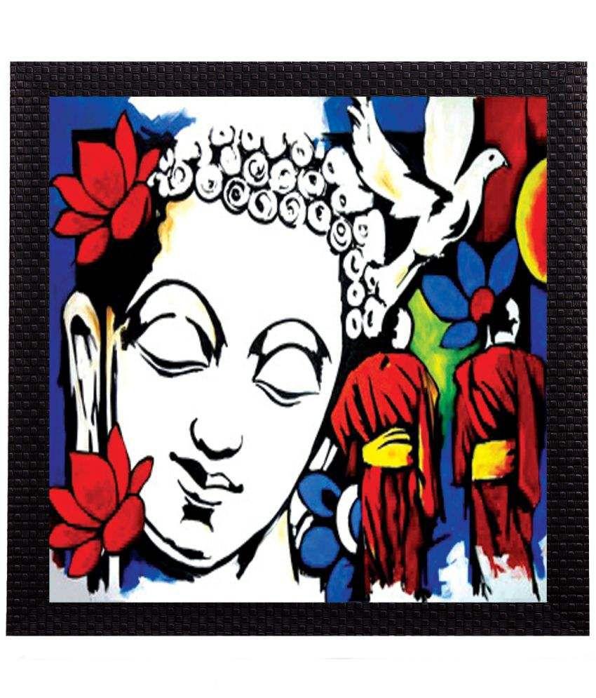 eCraftIndia Spiritual Lord Buddha Satin Matt Texture UV Art Wood Painting With Frame Single Piece