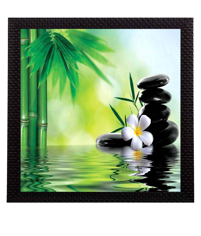 eCraftIndia  Water Lily Flower Satin Matt Texture UV Art  Multicolor Wood Painting With Frame Single Piece