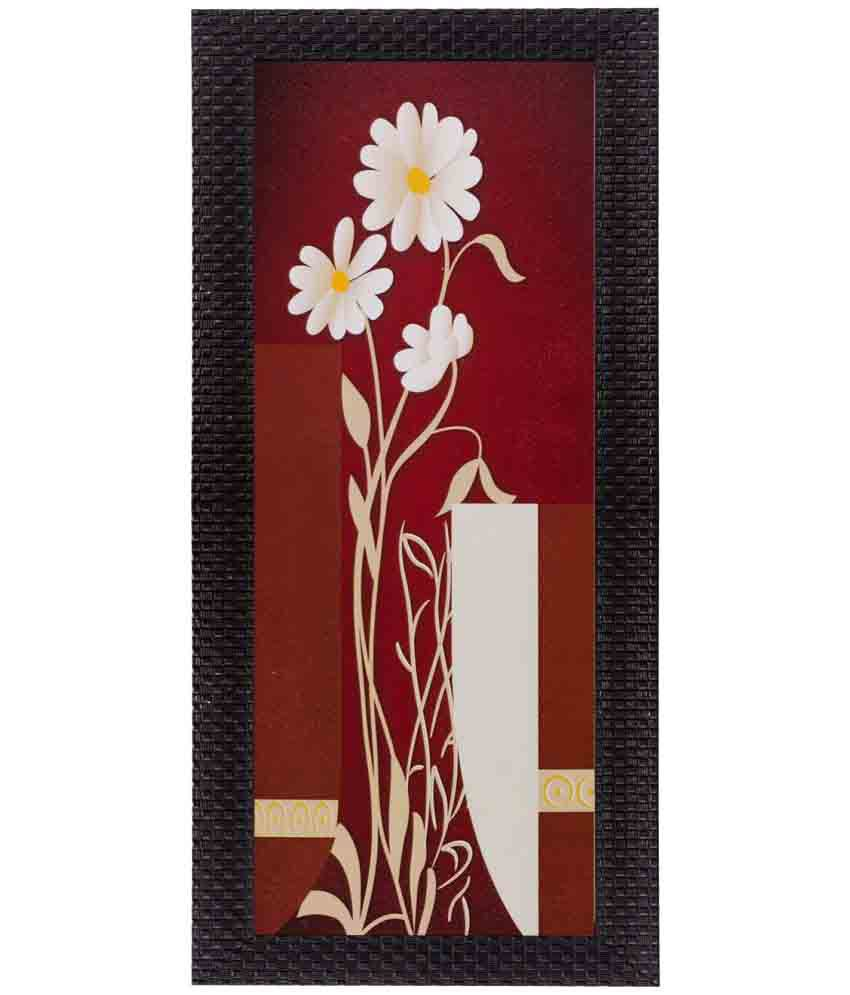 eCraftIndia Botanical Floral Design Wood Painting With Frame Single Piece