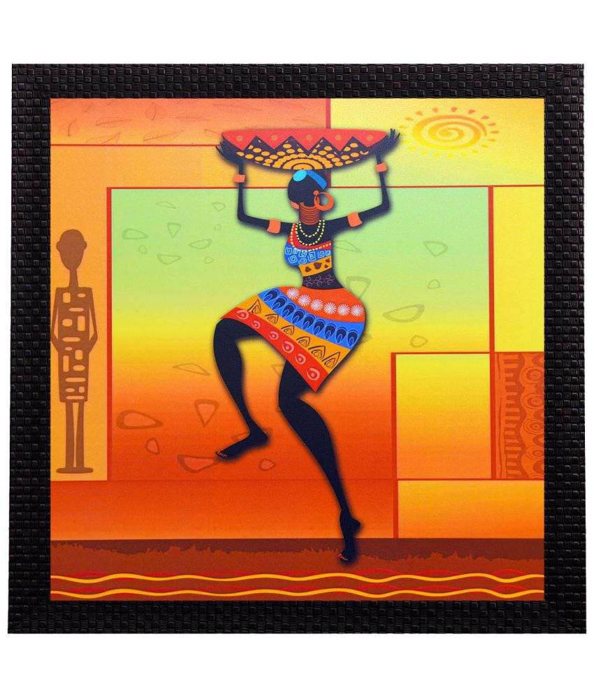 eCraftIndia  Dancing Tribal Woman Satin Matt Texture UV Art  Multicolor Wood Painting With Frame Single Piece