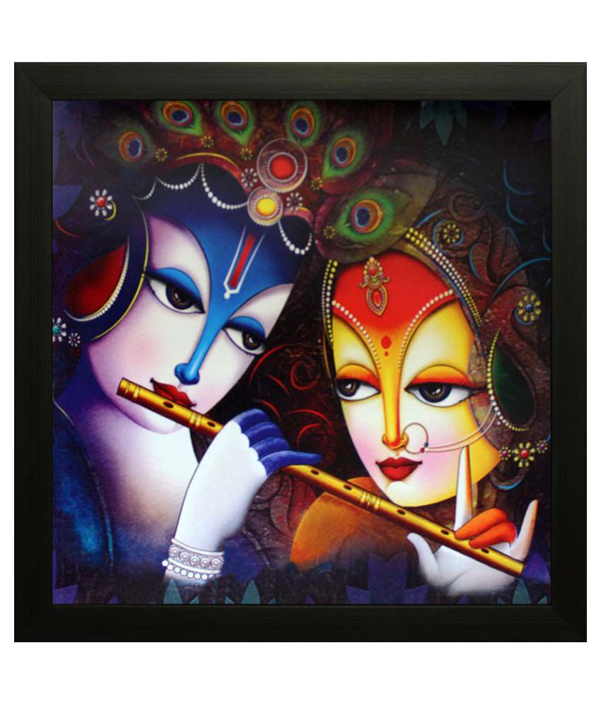 eCraftIndia Radha Krishna Satin Matt Texture Framed UV Art  Multicolor Wood Painting With Frame Single Piece