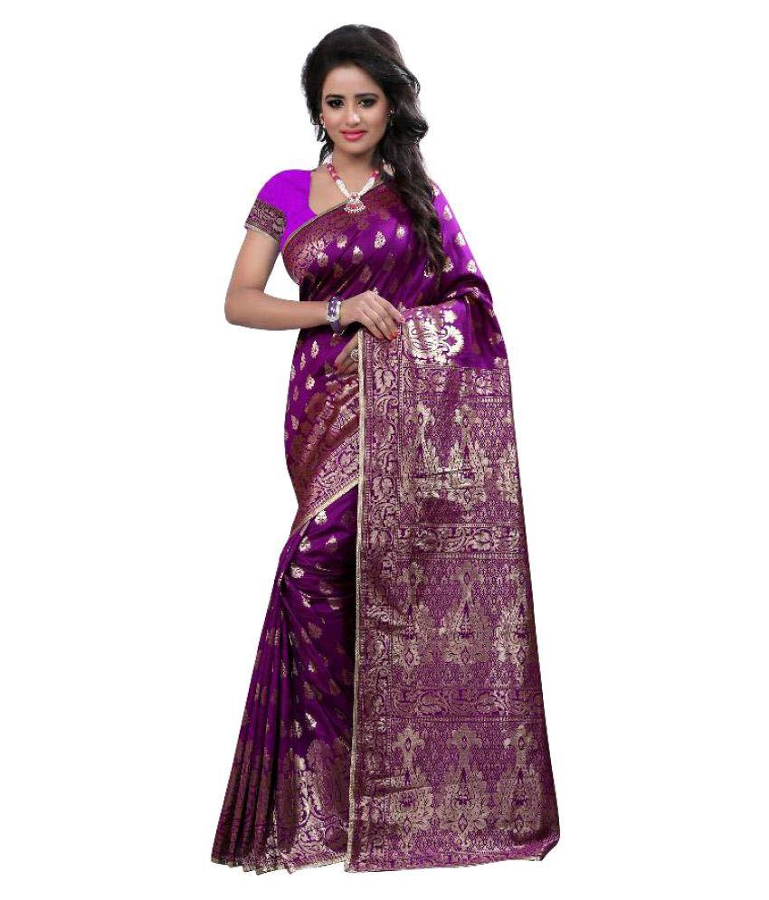 Kalashreefashion Purple Art Silk Saree