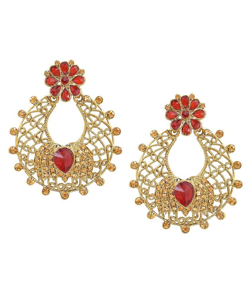 Shining Jewel Traditional Hyderabadi Chandbali Earring With Red Crystals (SJ_501)