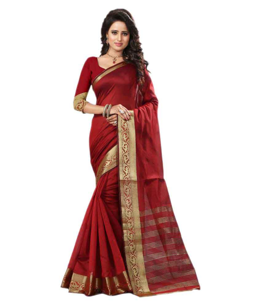 Seemore Red Art Silk Saree