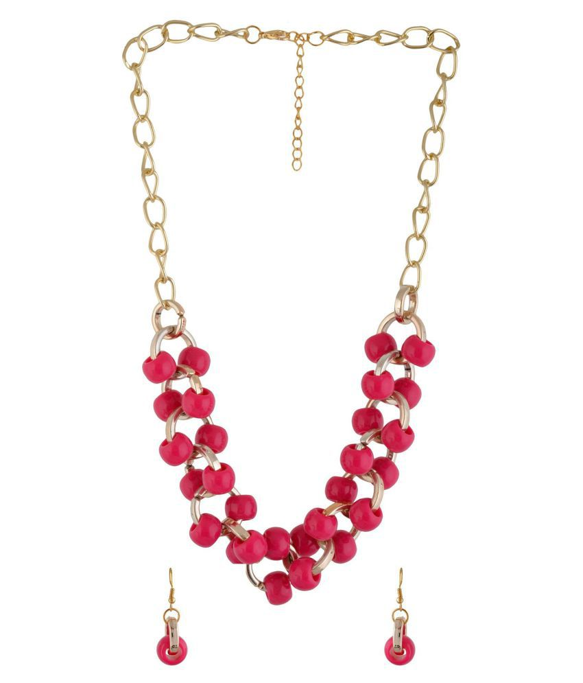 Jewel Treasure Pink Alloy Necklace Set