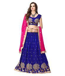 Poshak Mart Blue Bangalore Silk A-line Semi Stitched Lehenga