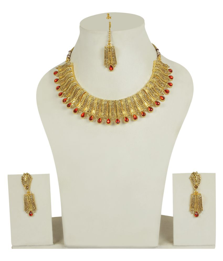 Much More Beautiful Limited Edition Diamond Look Golden Necklace Set for Women