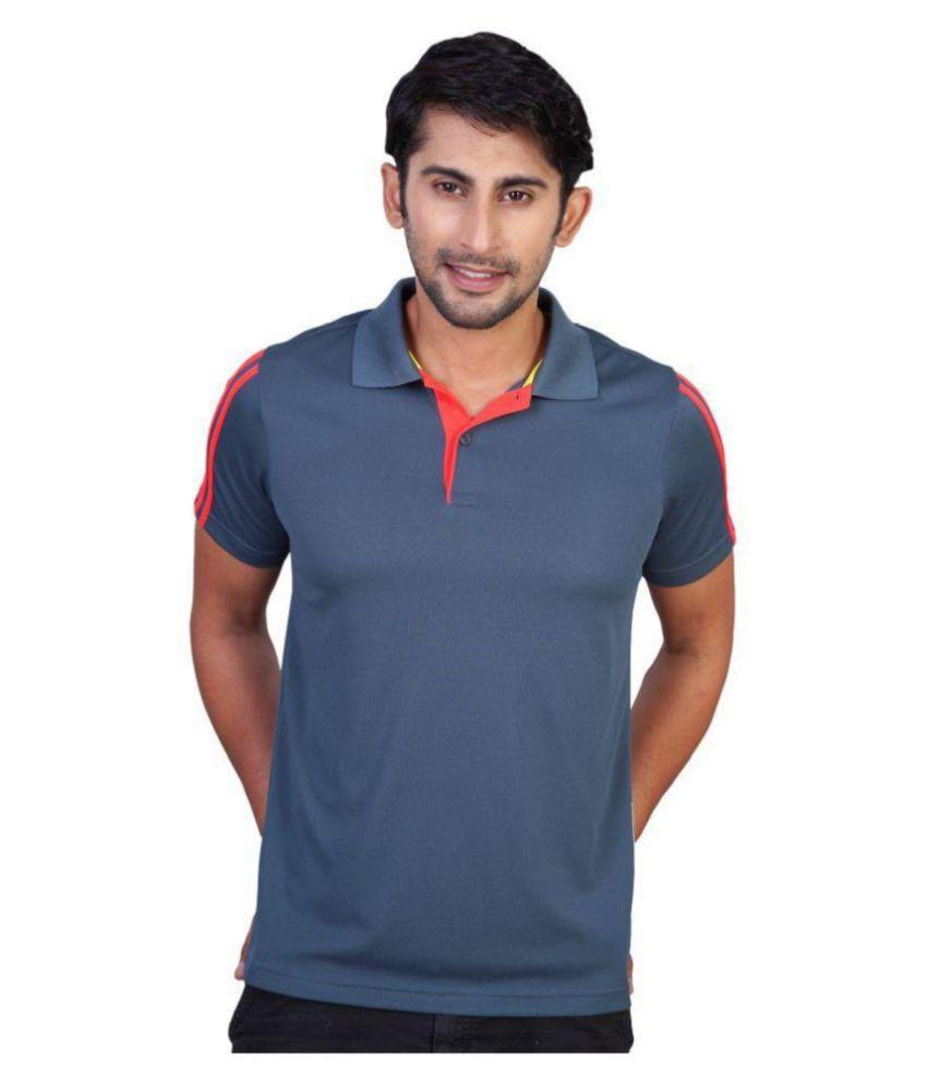 Adidas Blue Polyester Polo T-shirt
