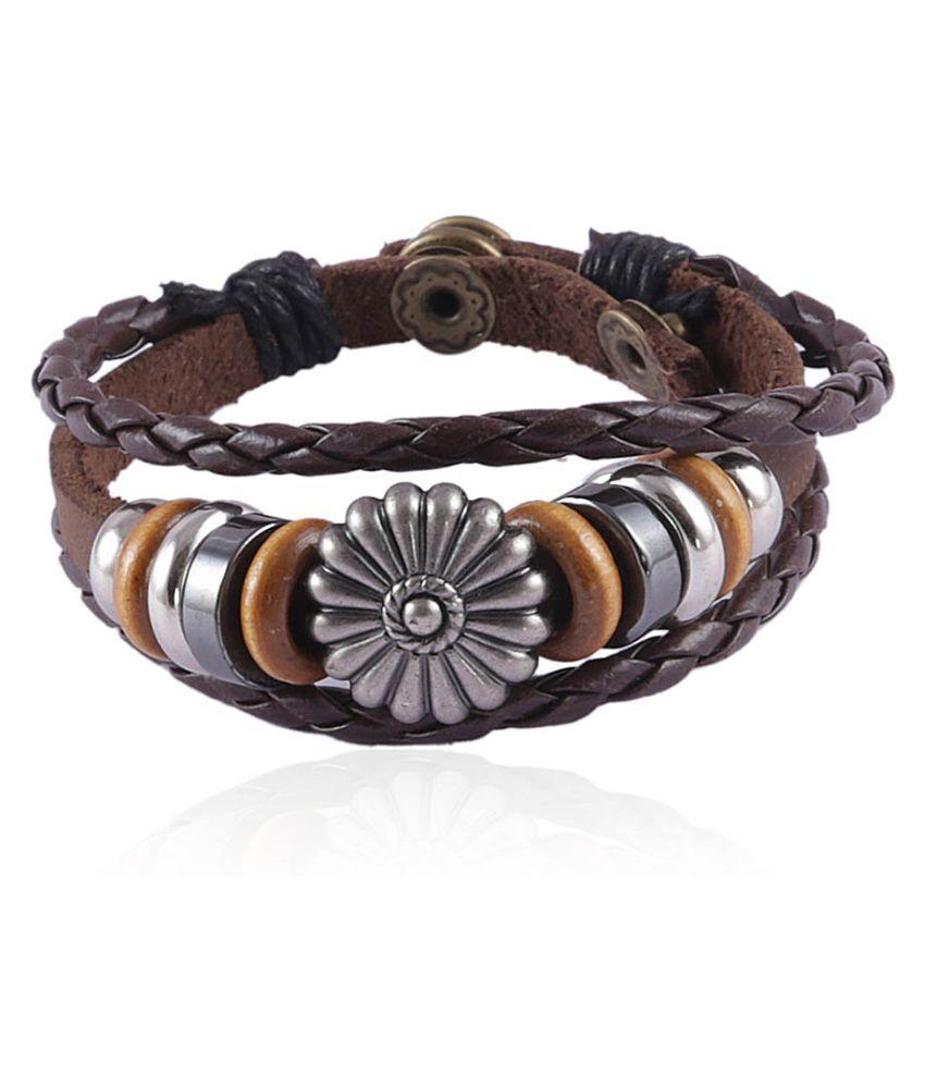 Jewelizer Faux Leather Bracelet