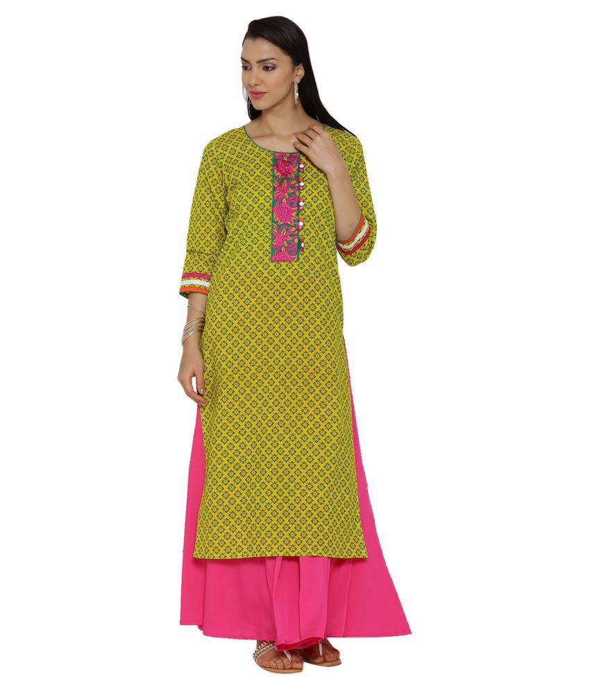 Aujjessa Yellow Cotton Straight Kurti