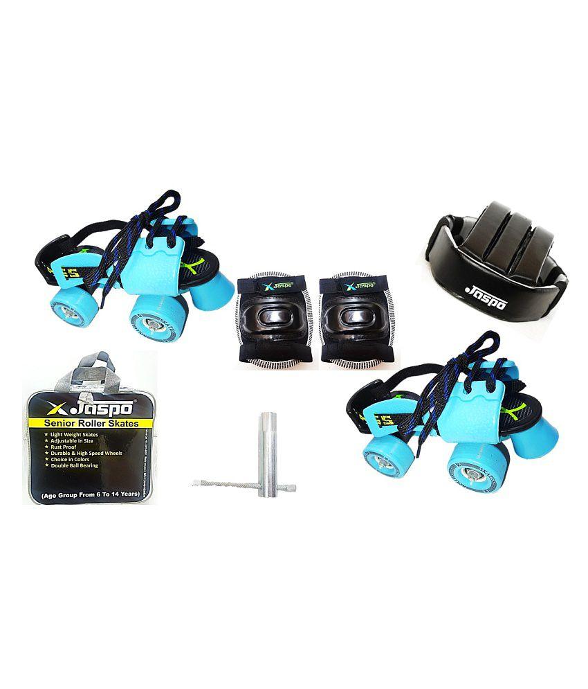 Jaspo Marshal Adjustable Roller Skates Combo (Skates + Helmet + Knee Guards + Bag) - For Age Group 6 To 14 Years