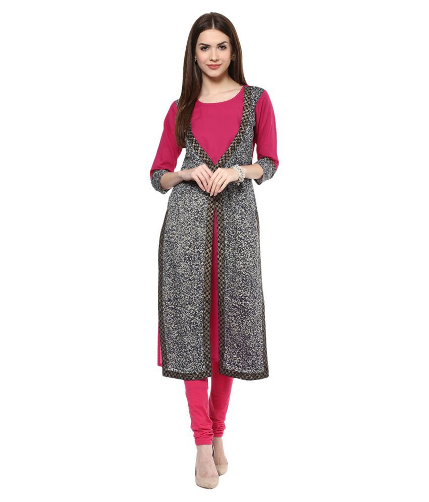 M&D Pink Cotton Straight Kurti