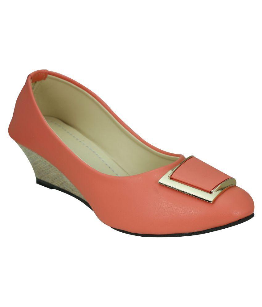 Soft&Sleek Orange Wedges Heels