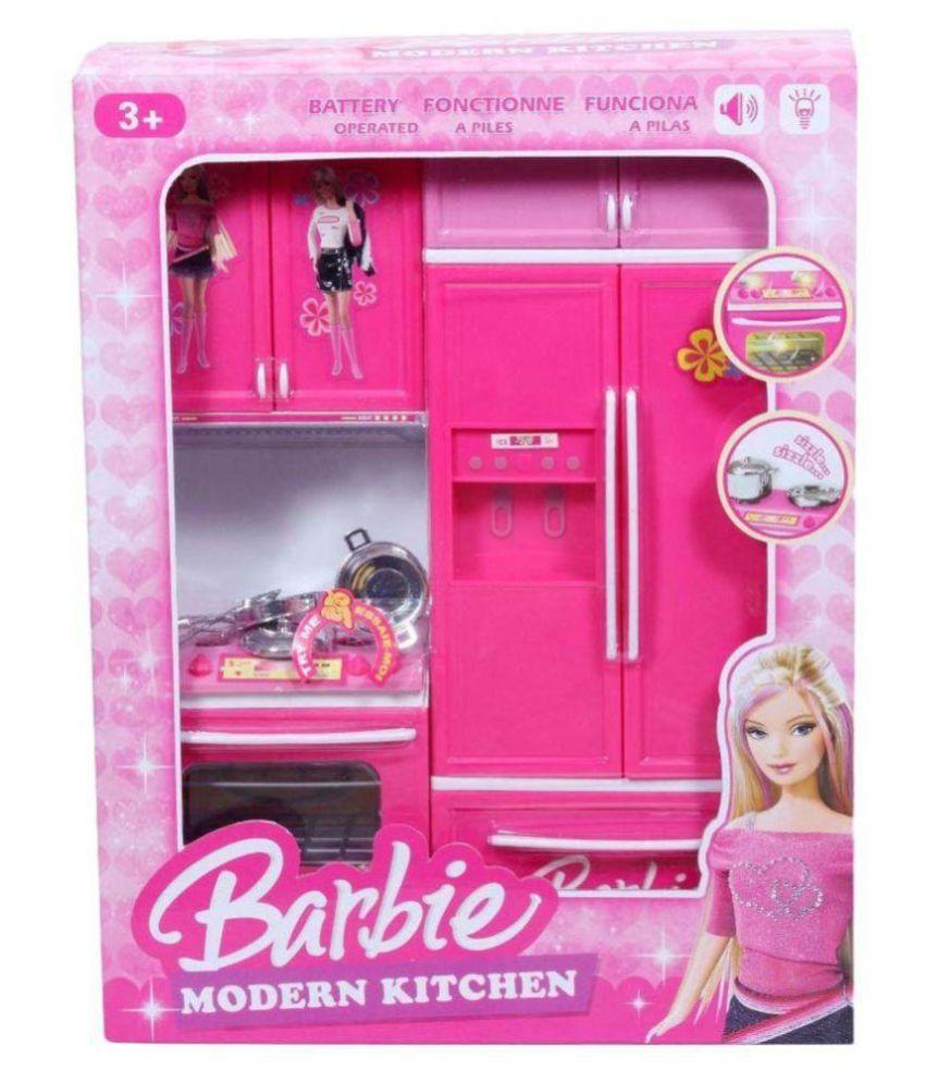 Paradise Pink Barbie Kitchen Set Price In India Buy Paradise Pink