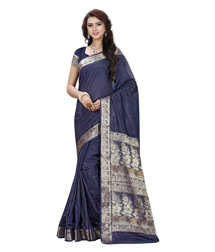 Dharmnandan Fashion Blue Silk Saree